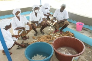 Peeling cassava manually