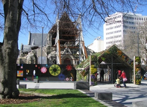 Temporary green building and artworks in Cathedral Square