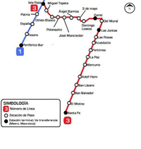 Map of the planned Line 3 of the Guadalajara light rail system.