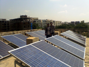 Solar panels in Anji Reddy School rooftop